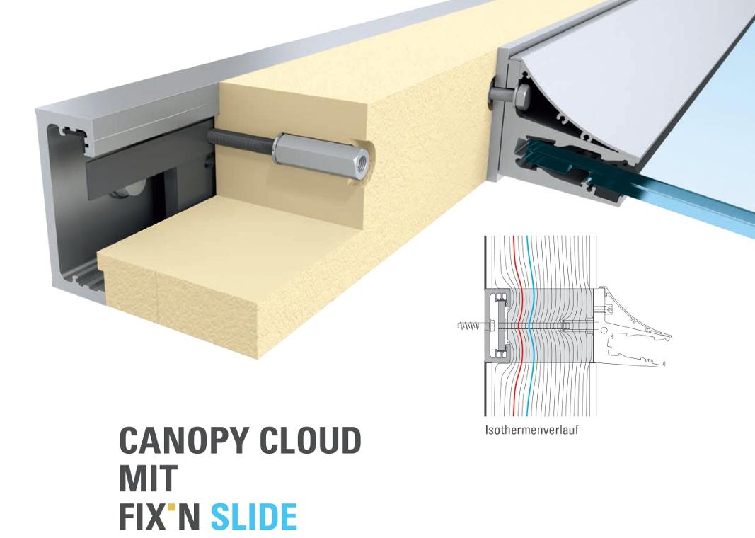 FIX'N SLIDE - Montageschiene für die sichere Verankerung bei Glasvordächern